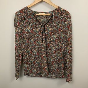 Anthro Meadow Rue Long Sleeve V Neck Floral Blouse